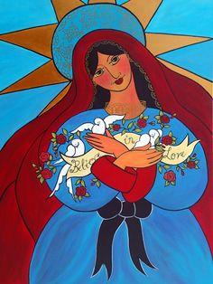 New Ebay Listing:  Original Mexican Folk Art Painting Virgin Mary by Jan Oliver-Schultz HUGE