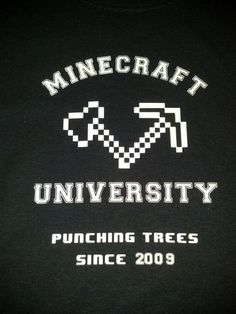Minecraft University Punching Tree Shirt Choice of Colors and Sizes | JustAnAwesomeMom - Clothing on ArtFire