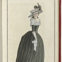 "Woman in deep mourning. According to the accompanying text, she wears a black taffeta gown and a skirt of the same fabric. On the neck a broad Fichu ruffled white 'gaze d'Italie' and cuffs 'and sabot' of the same gaze. On the head a ""chapeau-bonnette 'white crepe with a black ribbon and four black feathers. The long hair is held from behind with a bronze belt. Accessories: long gloves, shoes black taffeta, handkerchief. Cabinet des Modes Modes ou les Nouvelles, 1 Aout 1786."