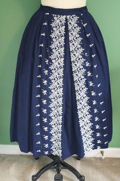 Vintage Navy Blue and White Embroidered Flowered Border Skirt