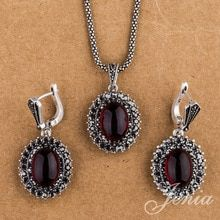 JENIA Vintage 925 Silver Plated Jewelry Sets Marcasite Red Garnet Drop Earrings and Pendant Necklace Set Necklace Set, Pendant Necklace, Women Jewelry, Fashion Jewelry, Marcasite Jewelry, Red Garnet, Vintage Silver, Silver Color, Jewelry Shop