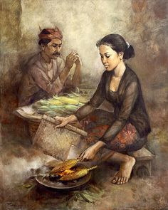 Rustamadji - Penjual jagung bakar Bali Painting, Figure Painting, Middle East Culture, Indonesian Art, T Art, Realism Art, Russian Art, Historical Pictures, Art Pictures