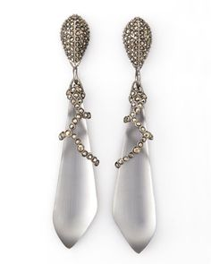 Santa Fe Deco Large Drop Earrings by Alexis Bittar at Neiman Marcus. Hand-sculpted, hand-painted Lucite drops, pave marcasite set in gunmetal ruthenium plate. Made in USA.