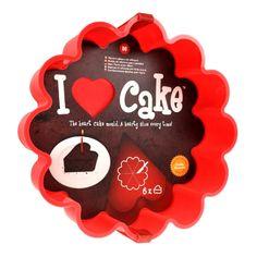 Kuchenform - Ich liebe Kuchen! Backform aus Silikon für 6 herzförmige Kuchenstücke.