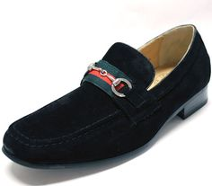 New Men's Dress Shoes Fashion Loafers Slip on Style Real Suede Black | eBay
