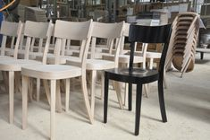 """Our """"classic"""" chair comes in a variety of woods and in many colours. In black it looks elegant and formal and is a perfect match for any kind of dining table. Our chairs get a very fine layer of colour so that the characteristics of wood are still recognizable. Dining Chairs, Dining Table, Perfect Match, Woods, Colours, Elegant, Formal, Classic, Model"""