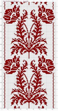 Cute Cross Stitch, Cross Stitch Rose, Cross Stitch Flowers, Cross Stitch Designs, Cross Stitch Patterns, Crochet Patterns Filet, Crochet Table Runner Pattern, Crochet Doilies, Crochet Lace