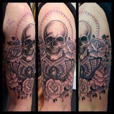 Skull and roses by Joanne #devilsowntattoos #devilsown #leicestertattoo #leicester #tattoo #armtattoo #rosetattoo #skulltattoo #blackandgreytattoo