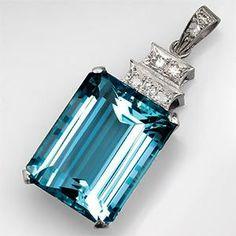 32 Carat Vintage Aquamarine Pendant w/ Diamond Accents in Platinum