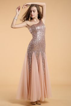 Rose Gold Prom Dresses 2018 Long Nude Mermaid Evening Dress Sequined One Shoulder Tulle Party Dress Types Of Prom Dresses, Homecoming Dresses Under 100, Mini Prom Dresses, Tulle Prom Dress, Sequin Dress, Bridesmaid Dress, Tulle Lace, Party Dresses, Occasion Dresses