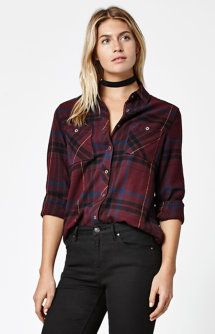 Plaid Flannel Button-Down Shirt in size small