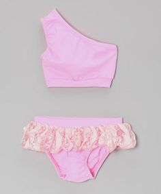 Look what I found on #zulily! Pink Lace Skirted Asymmetrical Bikini - Infant, Toddler & Girls by Frankie & Daisy #zulilyfinds