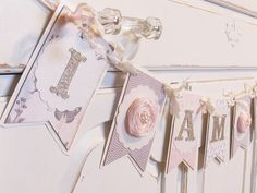 "1st. Birthday Banner ""I AM ONE"" Rustic Chic Blush Pinks, Greys and Creams on Etsy, $42.50"