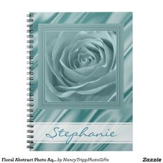 Floral Abstract Photo Aqua Rose Personalized Note Book