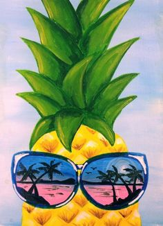 """Learn how to paint """"Pineapple Reflection"""" - part of the Paint Nite library created by Divinity Chan, Vancouver artist. Ask your local Paint Nite licensee/artist in your area to schedule it for the next event. Pinapple Painting, Fruit Painting, Diy Painting, Painting & Drawing, Acrilic Paintings, Simple Canvas Paintings, Cute Paintings, Pineapple Art, Summer Painting"""