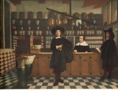 Pharmacist in his pharmacy, 17th century, unknown painter from the area of Gerard ter Borgh. The shelves behind the table are receptive tar Delft apothecary jars covered with brass lids, syrup jugs and pots extract. For the counter are on consoles a bronze mortar and a large mortar, important attributes drugs in the preparation of large stocks.