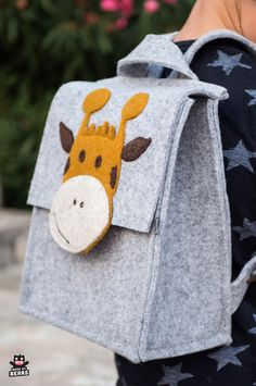 Cute gray toddler backpack with a little giraffe. Great for school kindergarten or preschool. Toddler Backpack, Diaper Bag Backpack, Tote Bag, Preschool Backpack, Little Giraffe, Cute Backpacks, School Backpacks, Kids Bags, Stuffed Toys Patterns