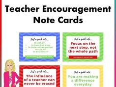 Boost teacher and staff morale with these encouragement cards. These cards include inspirational quotes to motivate teachers and inspire them to continue t. Motivational Cards, Inspirational Quotes, School Resources, Teaching Resources, Powerpoint Format, Mindfulness Activities, New School Year, New Teachers, Teaching Materials