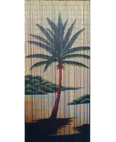 Bamboo beaded door curtain for doorway, window, closet, Palm tree 125 strands Beaded Curtains Doorway, Bamboo Beaded Curtains, Sliding Door Curtains, Painted Curtains, Cotton Curtains, Velvet Curtains, Drapes Curtains, Types Of Curtains, Short Curtains