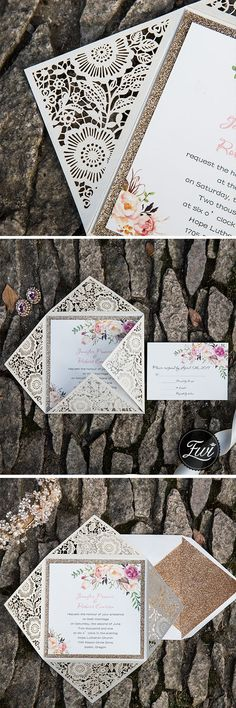 Romantic rustic flower glittery rose gold laser cut invitations#invitations#weddings#lasercut#glittery#floral