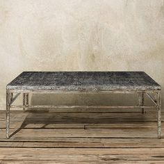 """Constructed from engineered hardwood & oak veneers, the Arhaus Nota 60"""" Rectangle Coffee Table in Silver brings unique character to any room."""