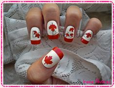 Check out this fab French-Canadian Manicure! 30 Canadatastic DIY-Able Manicures For Canada Day Dream Fantasy, Canada Day, One Design, Nail Art Designs, My Nails, Christmas Stockings, Finger, Nail Polish, Fancy