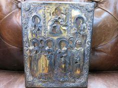 Ikone russisch Jesus Gottesmutter Heilige Silber Oklad Holz Eitempera vergoldet | eBay