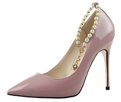 95db0127ef40 Guoar Women s Stiletto Heel Big Size Court Shoes Pointed Toe Pearl Chain  Patent Pump for Wedding Party Dress Red UK 5  Amazon.co.uk  Shoes   Bags