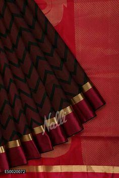 Black and Pink Coimbatore Silk Saree with Zig zag design on body and Ganga Jumuna border. Simple Sarees, Trendy Sarees, Stylish Sarees, Tamil Saree, Indian Sarees, Bordeaux, Modern Saree, Kanjivaram Sarees, Silk Cotton Sarees