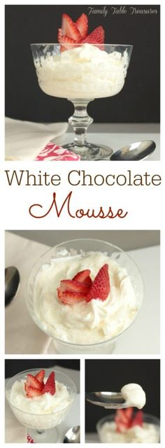 Make this creamy White Chocolate Mousse in minutes with just a few simple ingredients.  The perfect quick dessert for your next dinner party! White Chocolate Mouse, Chocolate Moose, Chocolate Cake, White Chocolate Mousse Cake, White Chocolate Desserts, Choc Mousse, Simple Chocolate Mousse Recipe, Mousse Dessert, Homemade Chocolate Pudding