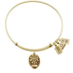 Wind & Fire 3-D Police Badge Charm Bracelet in Gold Tone ($28) ❤ liked on Polyvore featuring jewelry, bracelets, yellow, antique jewellery, antique bangles, antique charm bracelet, expandable charm bangle and bangle charm bracelet