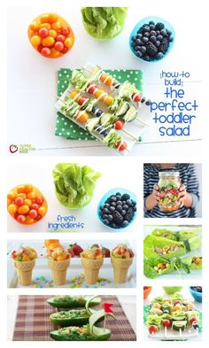 How to Build the Perfect Toddler Salad - Salads do not have to be served in a bowl! We like to think outside the box! http://www.superhealthykids.com/how-to-build-the-perfect-toddler-salad/