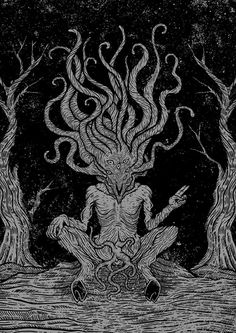 Jan Pimping, also known as Dark Providence, is a graphic designer and illustrator from Australia who specializes in occult black and white illustrations. Arte Horror, Horror Art, Necronomicon Lovecraft, Mythical Birds, Creepy Monster, Eldritch Horror, Gothic Fantasy Art, The Ancient Magus, Scary Art