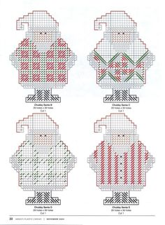 Chubby Santa Garland 2 of 2 Plastic Canvas Coasters, Plastic Canvas Ornaments, Plastic Canvas Tissue Boxes, Plastic Canvas Crafts, Plastic Canvas Patterns, Beaded Cross Stitch, Cross Stitch Patterns, Plastic Canvas Christmas, Canvas Designs