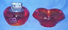 Viking Persimmon Amberina Tulip Ashtray & Sphere Lighter