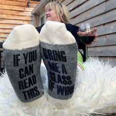Wool socks for hardworking wine drinkers by BlacknotFarm on Etsy
