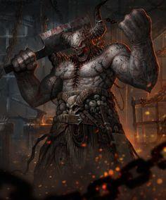 Infernal Butcher – horror character concept by Roman Tishenin