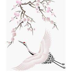 Large Flying Cranes Bird Stencil More , Japanese Patterns, Japanese Art, Japanese Crane, Chinese Painting, Chinese Art, Bracelete Tattoo, Tatoo Bird, Crane Tattoo, Bird Template