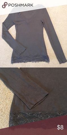 Deep V Top Soft and stretchy dark gray top with banded deep v neck and stretch lace hem. Decree Tops