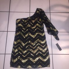 Short dress gold and black New size small short cute dress A. Byer Dresses One Shoulder
