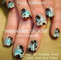 Hawaiian Print Nails