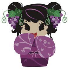Purple Grapes Kokeshi Doll