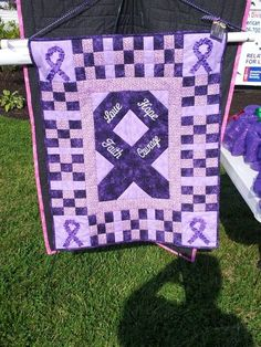 Relay for Life quilt Awareness Ribbons, Cancer Awareness, Purple Ribbon, Pink Ribbons, Ribbon Colors, Picnic Blanket, Outdoor Blanket, Ribbon Projects, Cancer Fighter