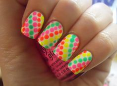 neon dotted nail art