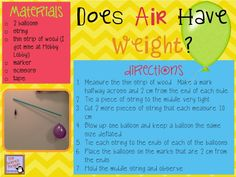 The Science Penguin: Does Air Have Weight? {A Balloon Lab} Fourth Grade Science, Middle School Science, Elementary Science, Science Classroom, Teaching Science, Science Education, Science For Kids, Earth Science, Classroom Ideas