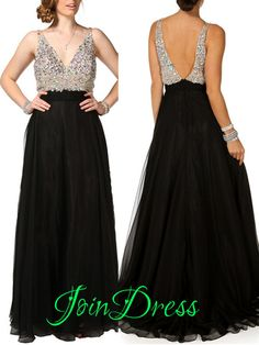 198 USD.Black Prom Dress Sexy V-Neck Evening Dress Chiffon Long Sequined Evening Dress Party Gowns