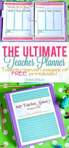 I love this bright and colorful printable teacher planner! It has so many useful pages, like a grade tracker, weekly/monthly calendars, lesson plans, and small group tracker (all with pretty colorful gingham backgrounds). Teacher Planner Free, Teacher Lesson Planner, Teacher Resources, Teachers Toolbox, Teacher Planning Pages, Preschool Planner, Teacher Notebook, Teacher Tips, Happy Planner