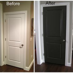 Black Doors Design Black Interior Doors With White Trim in Inspiration. We're so doing this to our house! Interior Door Colors, Painted Interior Doors, Black Interior Doors, Door Paint Colors, Painted Doors, Wood Doors, Interior Design, Slab Doors, Interior Painting