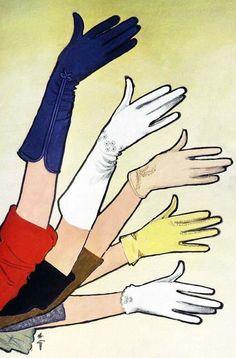 Illustration by René Gruau, 1963, Crescendoe Gloves ad.