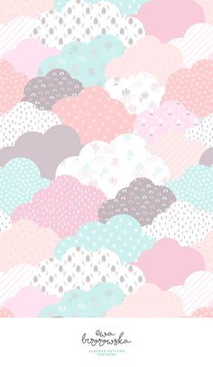 Geometric scandinavian patchwork clouds - surface pattern design for children in pink and mint color palette.